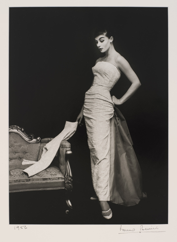 Pauline Kiernan in a gown by Theo Haskin of Salon Milano, Melbourne, 1956. Photograph by Bruno Benini.